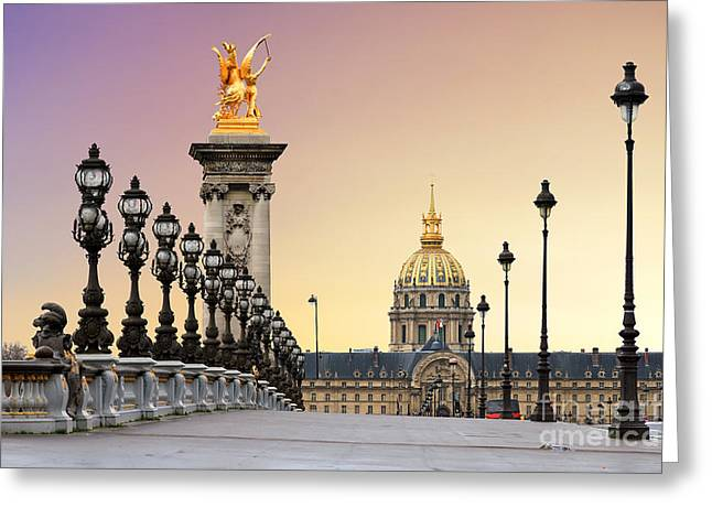 Beautiful Sunrise At The Pont Alexandre Greeting Card