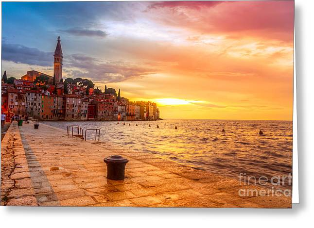 Beautiful Sunset At Rovinj In Adriatic Greeting Card