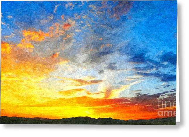 Beautiful Sunset In Landscape In Nature With Warm Sky, Digital A Greeting Card
