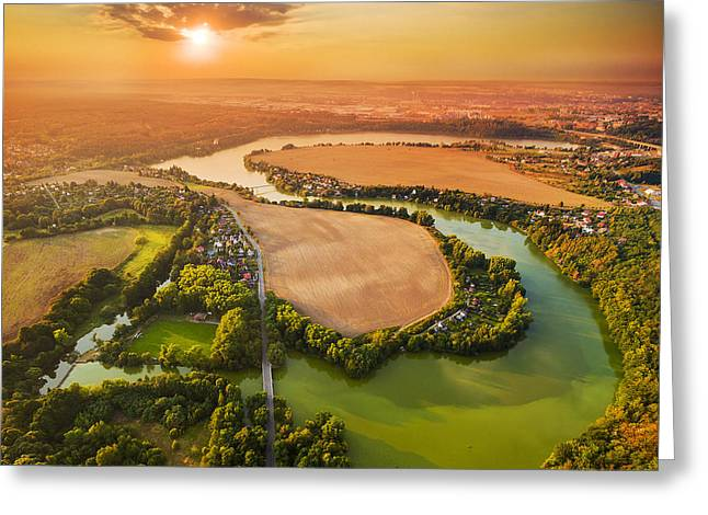 Beautiful Sunset Over Czech Valley Greeting Card