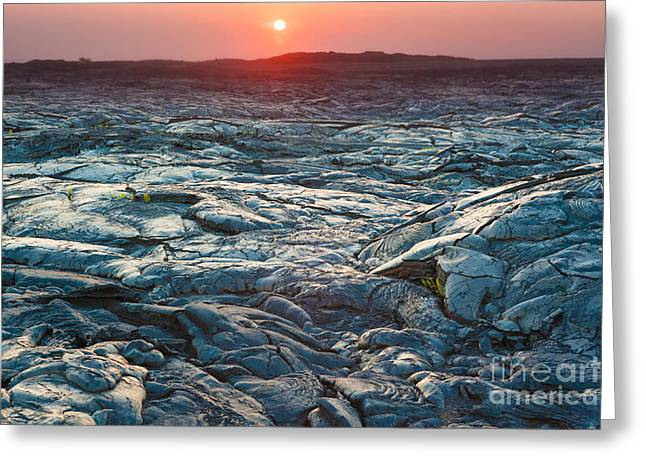 Beautiful Sunset Over Molten Cooled Greeting Card