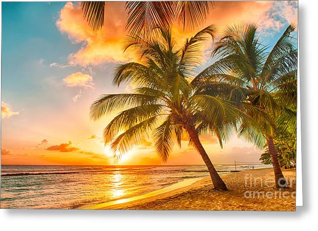 Beautiful Sunset Over The Sea With A Greeting Card