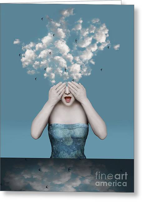Beautiful Surreal Image With A Girl Who Greeting Card