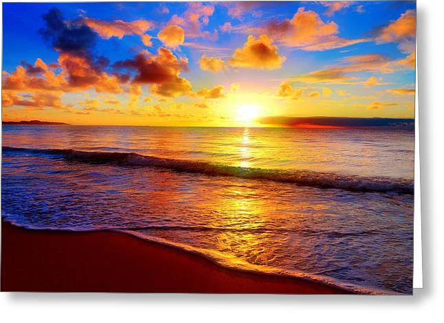 Beautiful Tropical Sunset On The Beach Greeting Card