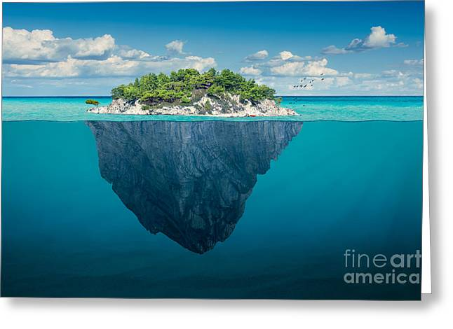 Beautiful Underwater View Of Lone Small Greeting Card
