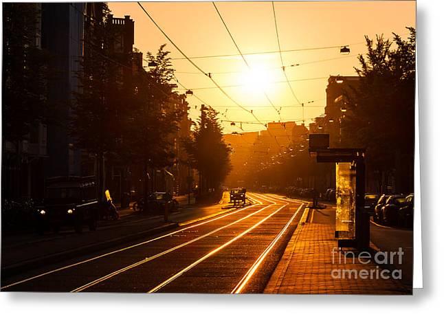 Beautiful Urban Sunrise In The City Of Greeting Card