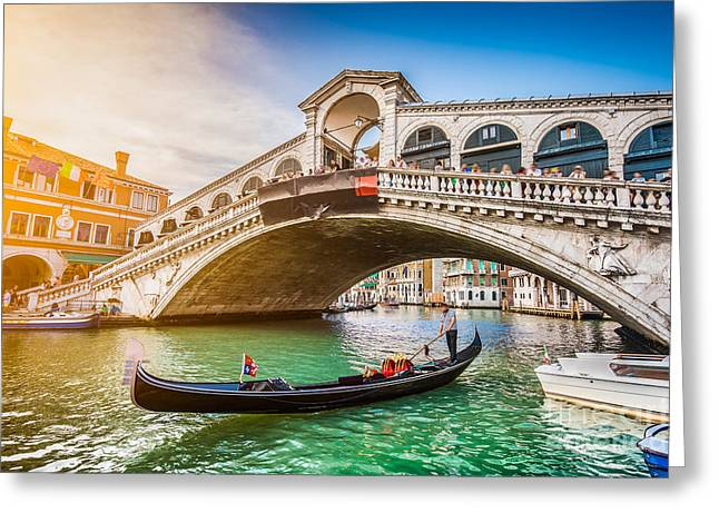 Beautiful View Of Traditional Gondola Greeting Card