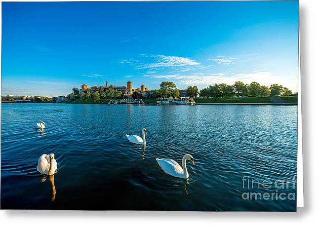 Beautiful View On Vistula River With Greeting Card