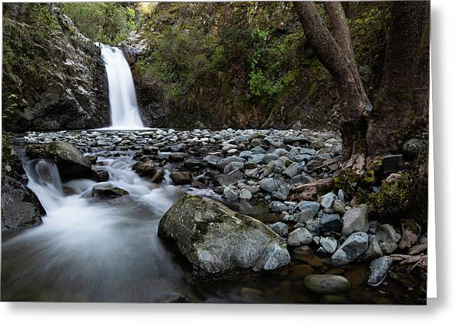 Greeting Card featuring the photograph Beautiful Waterfal, Troodos Mountains, Cyprus by Michalakis Ppalis