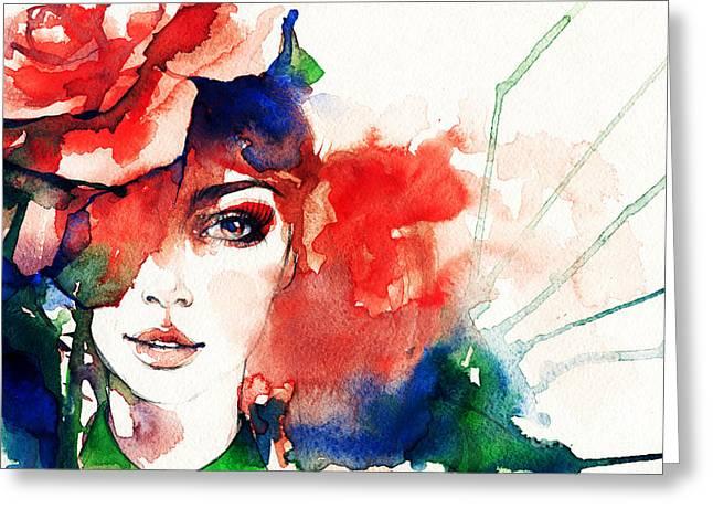 Beautiful Woman Face. Watercolor Greeting Card