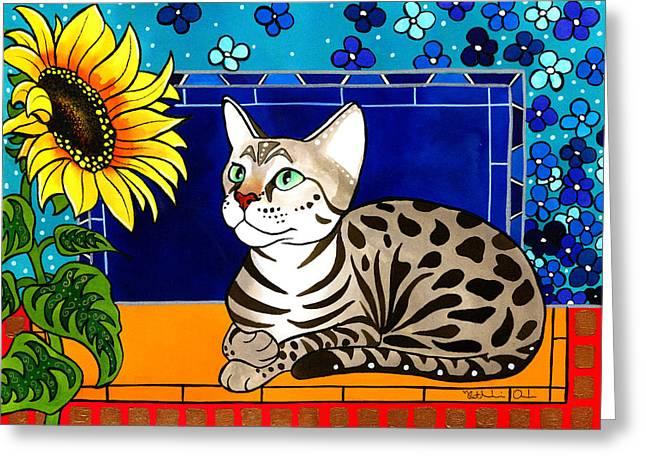 Beauty In Bloom - Savannah Cat Painting Greeting Card