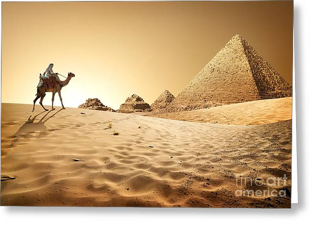 Bedouin On Camel Near Pyramids In Desert Greeting Card