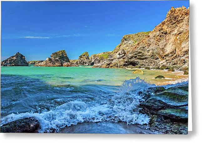 Bedruthan Steps, Cornwall Greeting Card by David Ross