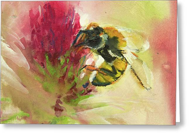 Bee On Clover Greeting Card