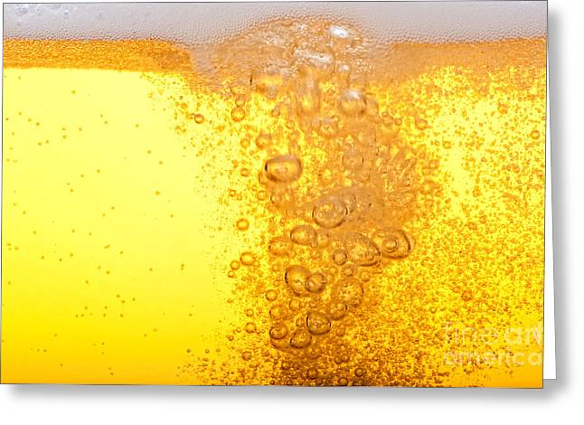 Beer Bubbles In The High Magnification Greeting Card