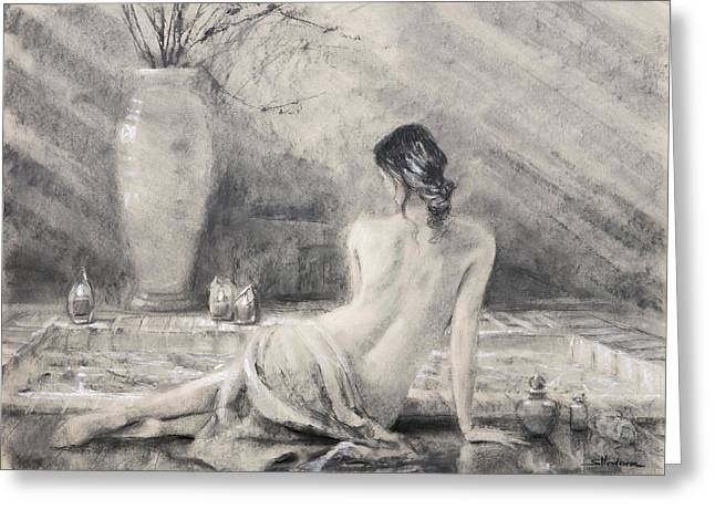 Greeting Card featuring the painting Before The Bath by Steve Henderson