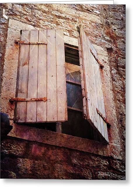 Greeting Card featuring the photograph Behind Shutters by Randi Grace Nilsberg