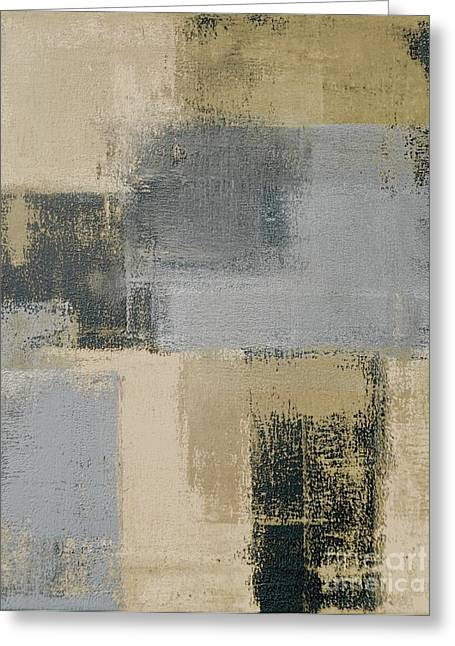 Beige And Grey Abstract Art Painting Greeting Card