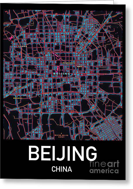 Beijing City Map Greeting Card