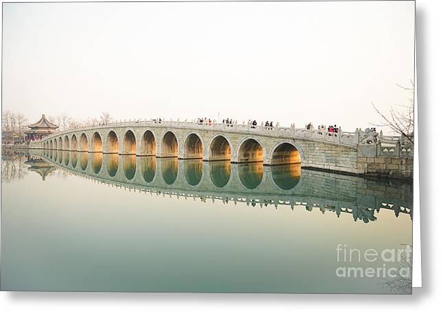 Beijing The 17-arch Bridge In Summer Greeting Card