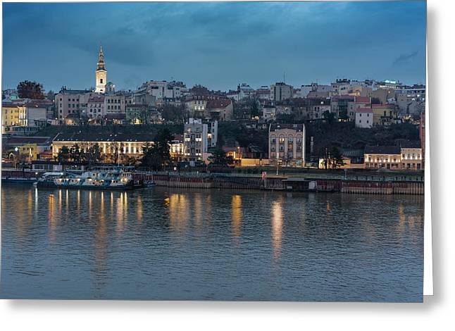Greeting Card featuring the photograph Belgrade Skyline And Sava River by Milan Ljubisavljevic