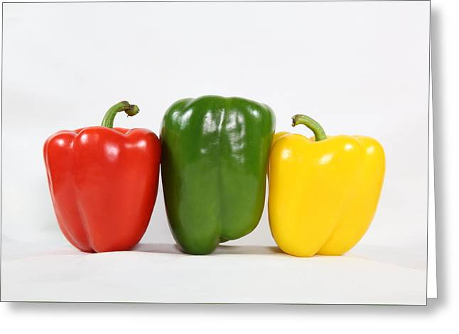 Greeting Card featuring the photograph Bell Pepper Support Group by Debi Dalio