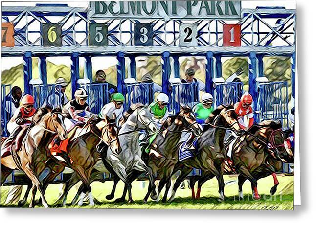 Belmont Park Starting Gate 1 Greeting Card