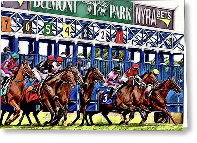 Belmont Park Starting Gate 2 Greeting Card