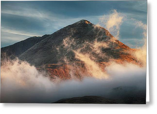 Greeting Card featuring the photograph Ben Lomond Misty Sunset by Grant Glendinning