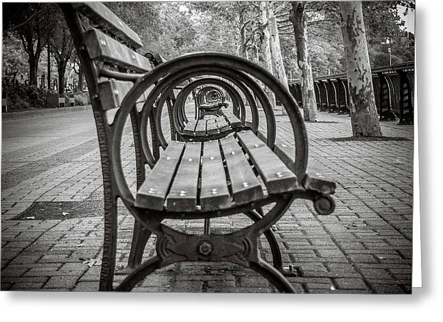 Greeting Card featuring the photograph Bench Circles by Steve Stanger