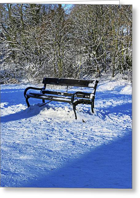 Bench In The Snow Greeting Card