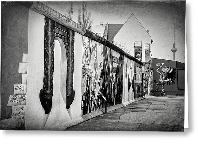 Berlin Wall Germany Black And White Greeting Card