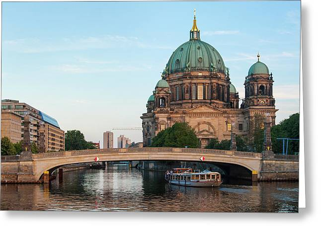 Greeting Card featuring the photograph Berliner Dom And River Spree In Berlin by Milan Ljubisavljevic