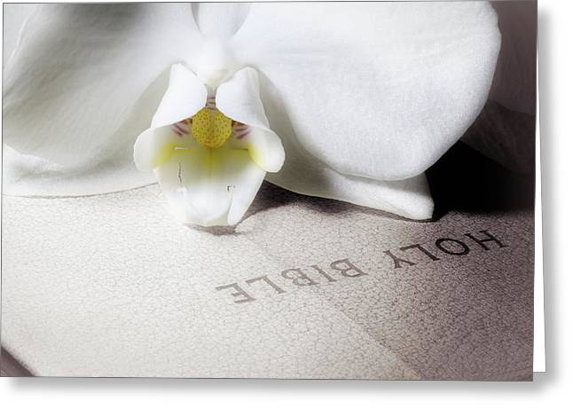 Bible With White Orchid Greeting Card