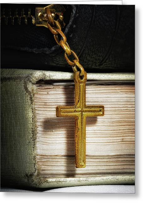 Bibles With Cross Greeting Card