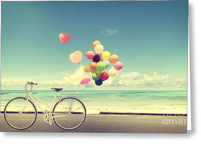 Bicycle Vintage With Heart Balloon On Greeting Card