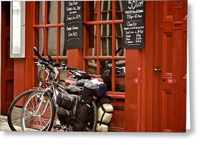 Bicycles On The British Pub, Durham Greeting Card