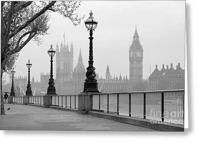 Big Ben & Houses Of Parliament, Black Greeting Card