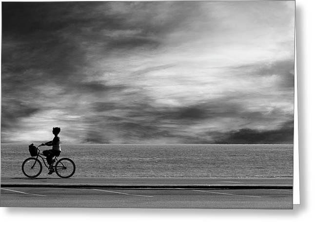 Greeting Card featuring the photograph Biking On Pch by John Rodrigues