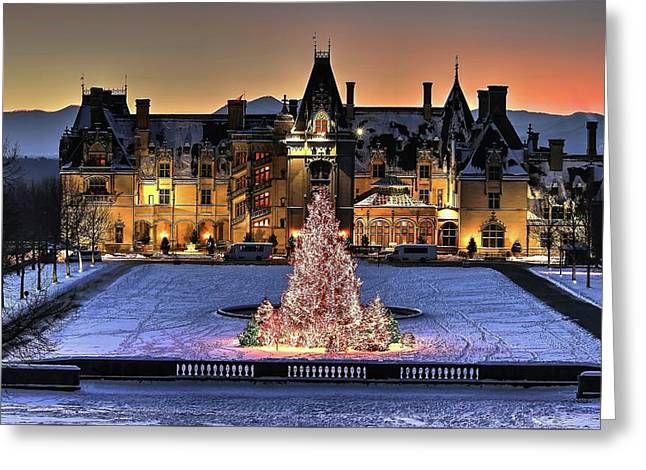 Biltmore Christmas Night All Covered In Snow Greeting Card