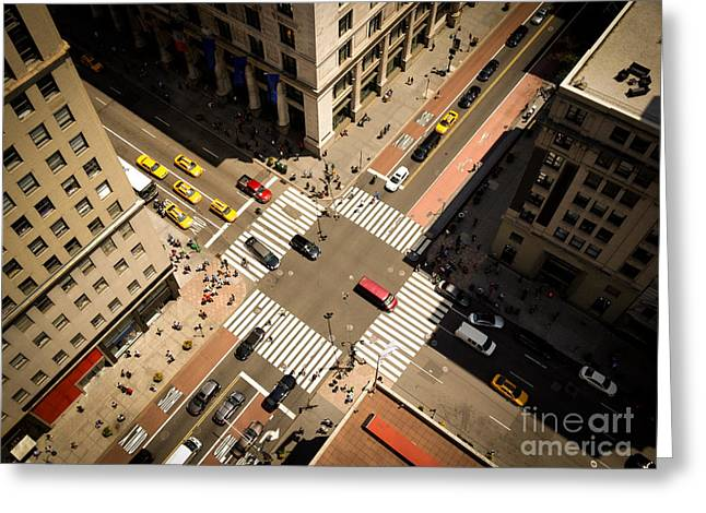Birds Eye View Of Manhattan, Looking Greeting Card by Heather Shimmin