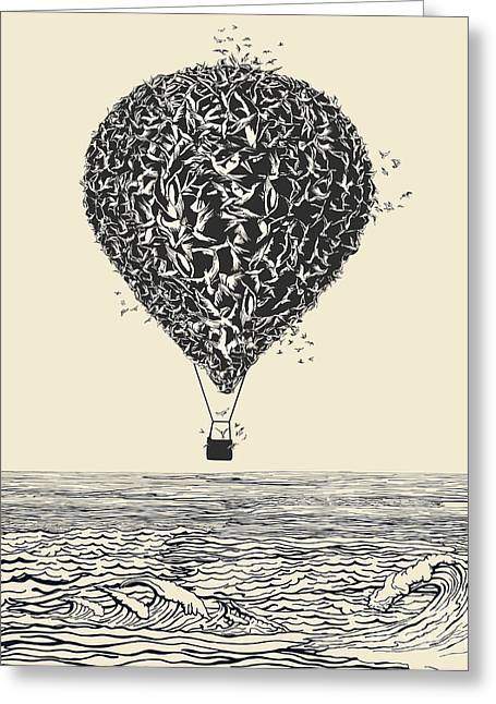 Birds Flock In Balloon Formation Flying Greeting Card by Ryger