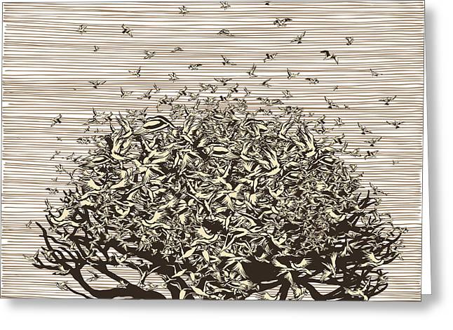 Birds Like Leaves On A Tree Greeting Card by Ryger