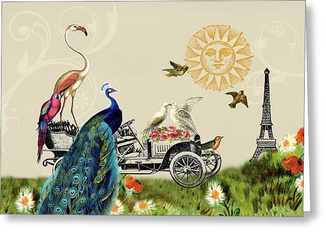 Birds Of A Feather In Paris, France Greeting Card