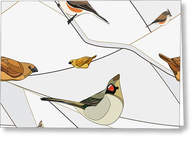 Birds On A Branch. Seamless Pattern Greeting Card