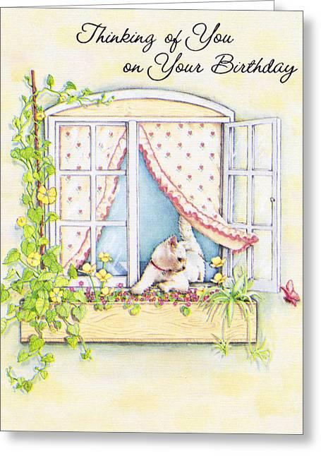 Birthday Cat In Window Greeting Card