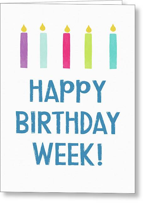 Birthday Week Candles- Art By Linda Woods Greeting Card