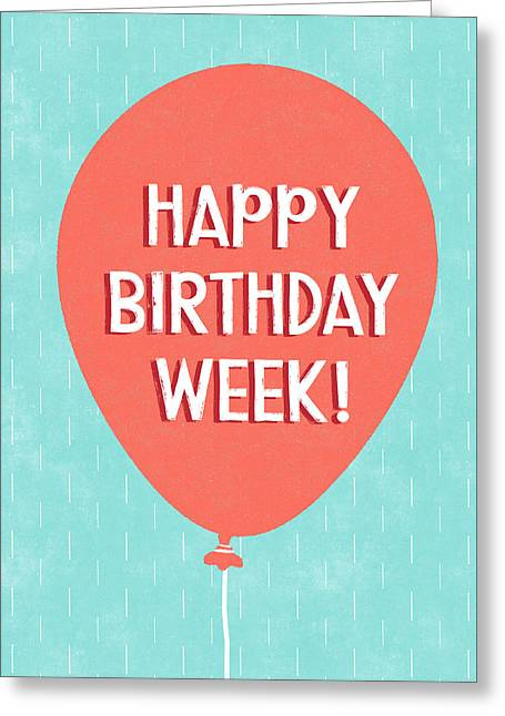 Birthday Week Red Balloon- Art By Linda Woods Greeting Card