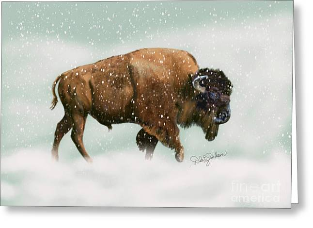 Bison In Snow Storm Greeting Card