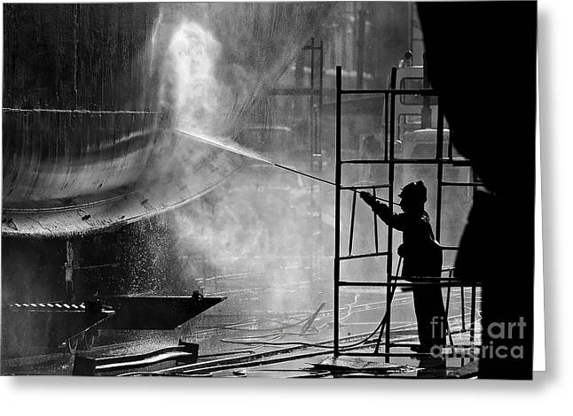 Black & White Image Of A Dock Worker Greeting Card